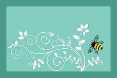 Bumble a abelha com folha Imagem de Stock Royalty Free