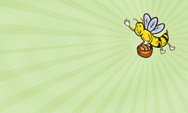 Bumble Bee Bakery Business card. Business card showing Illustration of a bumble bee waving carrying a basket full of bread loaf done in cartoon style Stock Photos