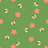 Bumble bee vector seamless pattern Royalty Free Stock Photos