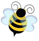 Bumble bee. Black and yellow bumble bee on white illustration vector illustration