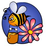 Bumble Bee Carrying Honey. A cartoon bumblebee flying with honey pot and flower against a blue background Royalty Free Stock Photo