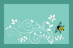 Bumble bee with Foliage stock illustration