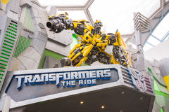 Bumble Bee at front gate of Transformers the Ride Stock Image