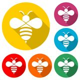 Bumble bee icon or logo, color set with long shadow. On white vector illustration