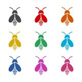 Bumble bee icon or logo, color set. On white vector illustration