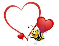Bumble Bee My Valentine. An illustration featuring a cute bumble bee in front of a blank heart Stock Photography