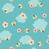 Bumble bee vector seamless pattern. Bumble bee/bee with flowers on blue background. Vector seamless pattern/wallpaper Stock Photos
