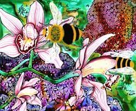 Bumble Bees. Pen and ink illustration of bees in the flowers Royalty Free Stock Photo