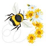 Bumblebee στροβιλισμένη ίχνος γραμμή φύλλων στο υπόβαθρο με τα λουλούδια Στοκ εικόνες με δικαίωμα ελεύθερης χρήσης