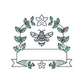 Bumblebee Coffee Leaves Cherries Flower Mono Line Royalty Free Stock Image