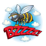 Bumblebee flying with the word buzz. Cartoon bumblebee wearing sunglasses holding on to the letters BZZZZ while flying royalty free illustration