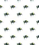 Bumblebee na białym tle banki target2394_1_ kwiatonośnego rzecznego drzew akwareli cewienie Insekt sztuka handwork bezszwowy wzor Obrazy Royalty Free