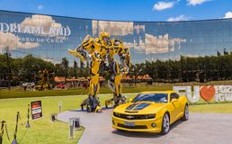 Bumblebee Transformer in front of the Wax Museum `Dreamland` in Foz do Iguacu near the famous Iguacu Falls. stock image
