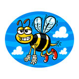 Bumblebee. Vector illustration of a cute smiling flying bumblebee cartoon Royalty Free Stock Photo