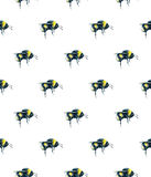 Bumblebee on a white background. Watercolor drawing. Insects art. Handwork. Seamless pattern Royalty Free Stock Images