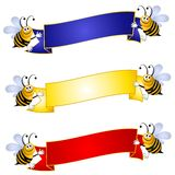 Bumblebees Holding Banners. A clip art illustration featuring an assortment of cartoonish Bumblebees holding banners in red gold and blue Stock Photo