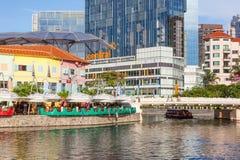 Bumboat traditionnel sur la rivière de Singapour Images libres de droits