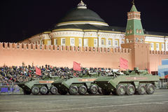Bumerang is an amphibious wheeled APC. MOSCOW, RUSSIA - MAY 03, 2017: Night rehearsal celebration of the 72th anniversary of the Victory Day WWII on Red Square royalty free stock photo