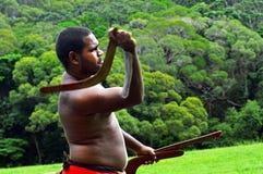 Bumerang för Yirrganydji infödd krigarekast Royaltyfri Foto