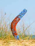 Bumerang na porosłej piaskowatej diunie. Zdjęcie Royalty Free