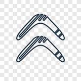 Bumerangu pojęcia wektorowa liniowa ikona odizolowywająca na przejrzystym bac ilustracja wektor