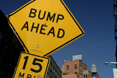 Bump ahead. A signal in New York City Stock Photography