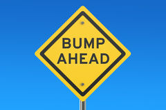 Bump Ahead road sign. On blue sky Royalty Free Stock Photos