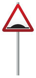 Bump Ahead Signpost. A triangular bump ahead sign on a pole  on a white background Stock Photography