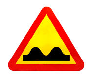 Bump ahead traffic sign. Yellow and red bump ahead traffic sign Stock Photography