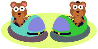 Bump car bears. An illustration of two bears riding bump cars Royalty Free Stock Photos