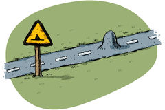 Bump in the Road. A cartoon traffic sign warns of a small bump in the road Royalty Free Stock Image