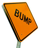 Bump Road Sign Cutout Isolated on White. Road sign indicating a small problem ahead.  Cut out on white background (see other files with sky backgrounds Stock Photos
