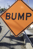 Bump Sign. Orange bump sign for a construction zone Stock Images
