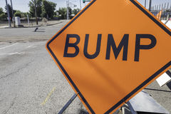 Bump Sign. Orange bump sign for a construction zone Royalty Free Stock Image