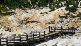 Bumpass Hell boardwalk at Lassen Volcanic National Park Royalty Free Stock Images