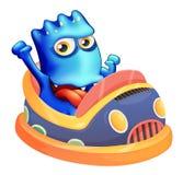 一bumpcar与一个蓝色妖怪 免版税图库摄影