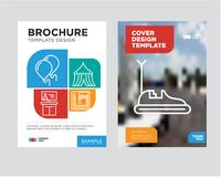 Bumper car brochure flyer design template. With abstract photo background, Board game, Tent, Tv, Balloons minimalist trend business corporate roll up or annual Royalty Free Stock Images