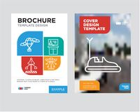 Bumper car brochure flyer design template. With abstract photo background, Carousel, Tv, Fair, Hot air balloon minimalist trend business corporate roll up or Royalty Free Stock Images