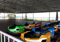 Bumper car racing in beach Royalty Free Stock Image
