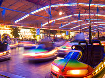 Bumper cars. In motion. Amusement park series Royalty Free Stock Photos