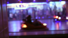 Bumper cars at amusement park stock video footage