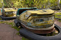 Bumper cars in amusement park in Pripyat Stock Photo