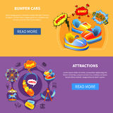 Bumper cars and attractions flat banners Royalty Free Stock Photos
