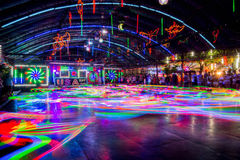 Bumper Cars colorful light trail. Stock Photos