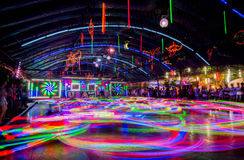 Bumper Cars colorful light trail. Royalty Free Stock Photography