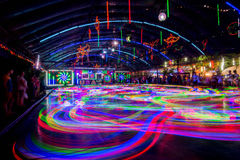 Bumper Cars colorful light trail. Royalty Free Stock Photos