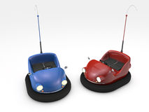 Bumper cars. 3D blue and red bumper cars isolated on white background Stock Photo