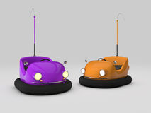 Bumper cars. 3D purple and orange bumper cars Stock Photo