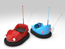 Bumper cars. 3D red and blue bumper cars on white background Royalty Free Stock Photography