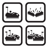 Bumper cars or dodgem icon in four variations.  Stock Images